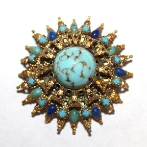 VTG Hubbel Blue Turquoise 3D Star Burst GP Brooch